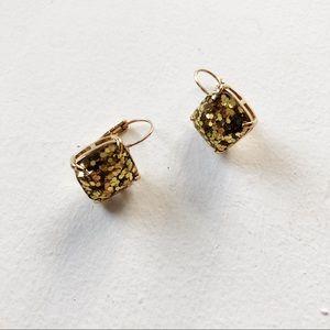 kate spade gold sparkle drop earrings
